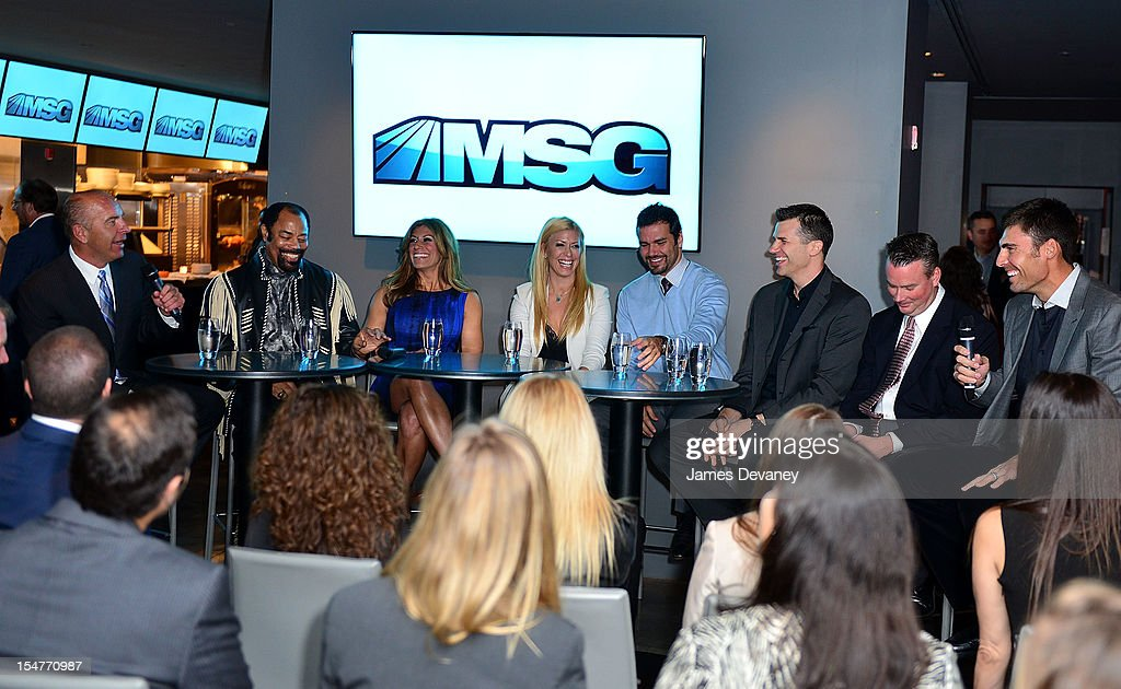 Al Trautwig, Clyde Frazier, Tina Cervasio, Jill Martin, Spero Dedes, Alan Hahn, Brendan Brown and <a gi-track='captionPersonalityLinkClicked' href=/galleries/search?phrase=Wally+Szczerbiak&family=editorial&specificpeople=201838 ng-click='$event.stopPropagation()'>Wally Szczerbiak</a> attend MSG Network's 'Knicks Season Roundtable' at Clyde Frazier's Wine and Dine on October 25, 2012 in New York City.