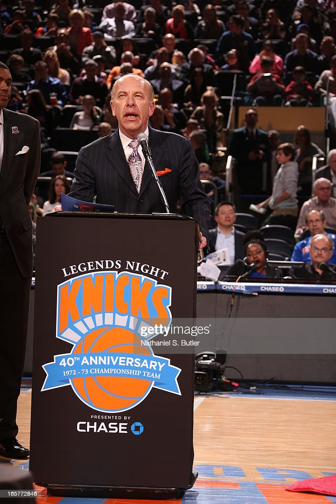 Al Trautwig speaking on behalf of the 1972 - 1973 Championship New York Knicks team during a ceremony at halftime honoring the 40th anniversary of the team's victory in the NBA Finals on April 5, 2013 at Madison Square Garden in New York City.