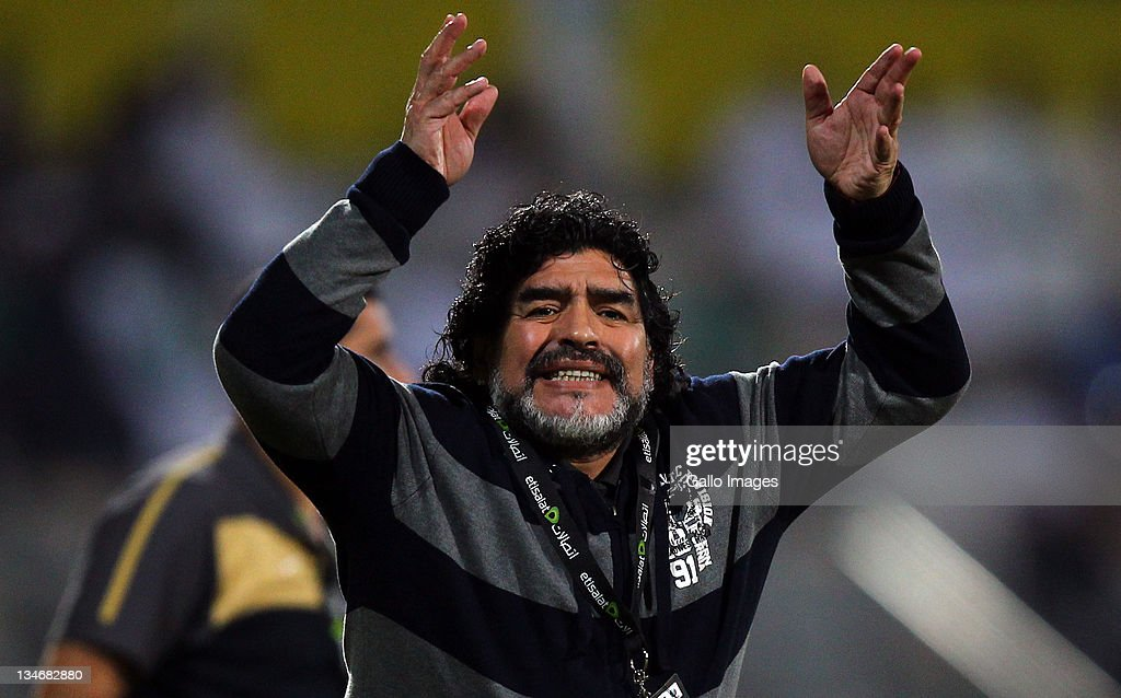 Al Wasl manager, Diego Maradona reacts during the Etisalat League match between Al Wasl and Al Shabab at Zabeel Stadium on December 03, 2011 in Dubai, United Arab Emirates.