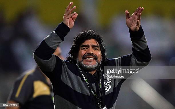 Al Wasl manager Diego Maradona reacts during the Etisalat League match between Al Wasl and Al Shabab at Zabeel Stadium on December 03 2011 in Dubai...