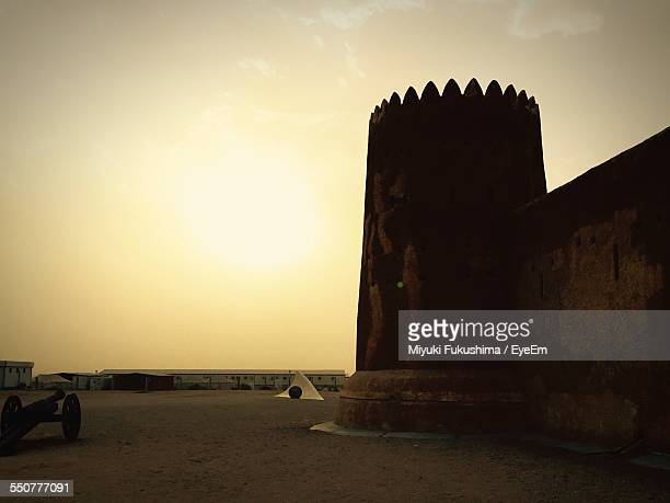 Al Zubarah Fort Against Sky At Sunset