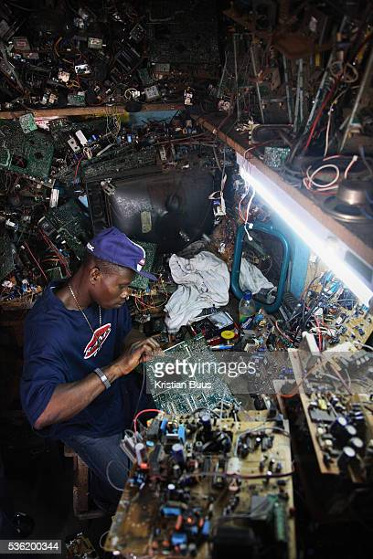 Alaba International Market Julius Paul a TV repair man at Alaba Market His speciality is Sharp televisons New and old and a lot of nonworking...