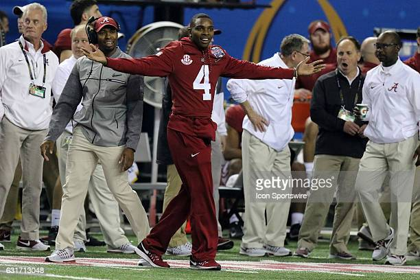 Alabama Crimson Tide defensive back Eddie Jackson cheers from the sidelines during the College Football Playoff Semifinal at the ChickfilA Peach Bowl...
