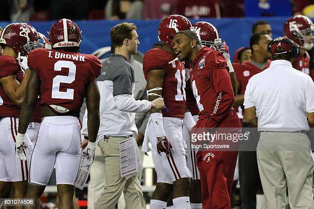 Alabama Crimson Tide defensive back Eddie Jackson encourages teammates before the College Football Playoff Semifinal at the ChickfilA Peach Bowl...