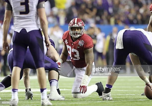 Alabama Crimson Tide defensive lineman Jonathan Allen eyes the quarterback during the 2016 ChickfilA Peach Bowl between the Alabama Crimson Tide and...