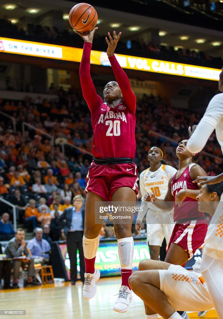 Alabama Crimson Tide forward Ashley Williams (20) takes a shot during a game between the Tennessee Lady Volunteers and Alabama Crimson Tide on February 15, 2018, at Thompson-Boling Arena in Knoxville, TN.