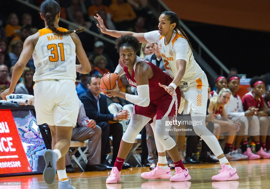 Alabama Crimson Tide forward Quanetria Bolton (1) is guarded by Tennessee Lady Volunteers center Mercedes Russell (21) during a game between the Tennessee Lady Volunteers and Alabama Crimson Tide on February 15, 2018, at Thompson-Boling Arena in Knoxville, TN. Alabama defeated the Lady Vols 72-63.