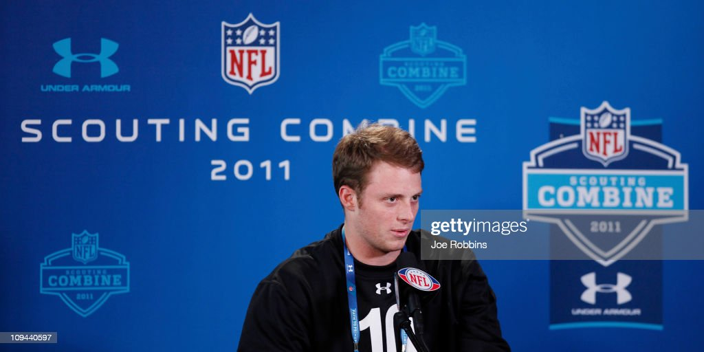 Alabama Crimson Tide quarterback Greg McElroy answers questions during a media session at the 2011 NFL Scouting Combine at Lucas Oil Stadium on February 25, 2011 in Indianapolis, Indiana.