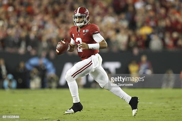 Alabama Crimson Tide quarterback Jalen Hurts in action during the 2017 College Football National Championship Game between the Clemson Tigers and...