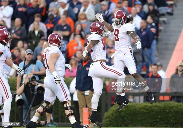 Alabama Crimson Tide running back Bo Scarbrough celebrates after scoring a touchdown during a football game between the Auburn Tigers and the Alabama...