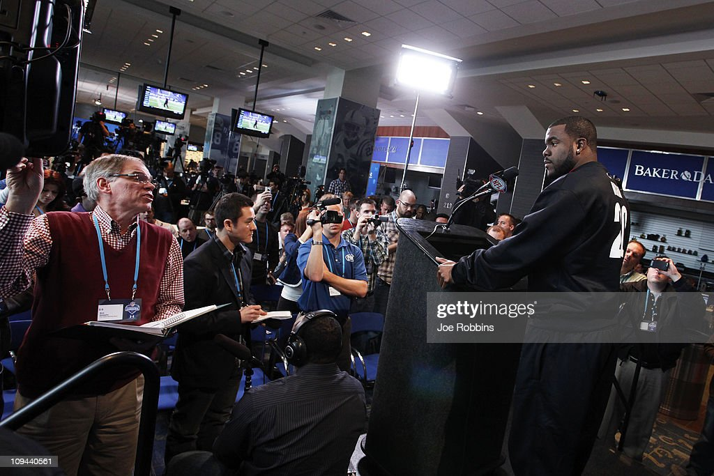 Alabama Crimson Tide running back Mark Ingram answers questions during a media session at the 2011 NFL Scouting Combine at Lucas Oil Stadium on February 25, 2011 in Indianapolis, Indiana.