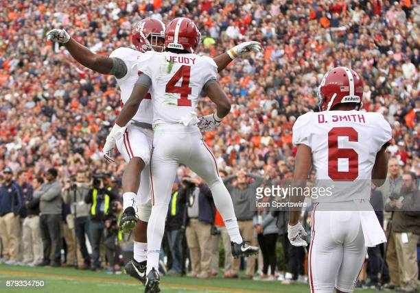 Alabama Crimson Tide wide receiver Jerry Jeudy celebrates a scoring a touchdown during a football game between the Auburn Tigers and the Alabama...