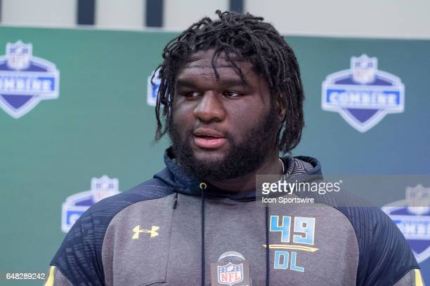 Alabama defensive tackle Dalvin Tomlinson answers questions from members of the media during the NFL Scouting Combine on March 4 2017 at Lucas Oil...