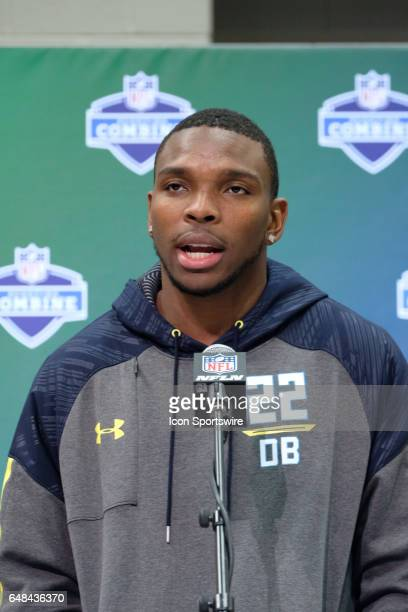 Alabama free safety Eddie Jackson answers questions from members of the media during the NFL Scouting Combine on March 5 2017 at Lucas Oil Stadium in...