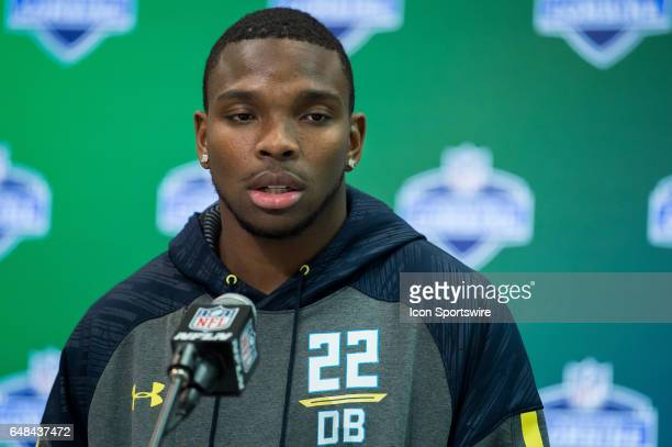 Alabama free safety Eddie Jackson answers questions from the media during the NFL Scouting Combine on March 5 2017 at Lucas Oil Stadium in...