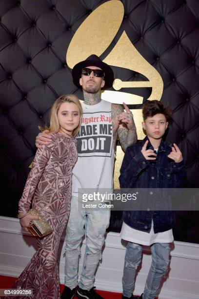 Alabama Luella Barker recording artist Travis Barker of Blink182 and Landon Asher Barker attend The 59th GRAMMY Awards at STAPLES Center on February...