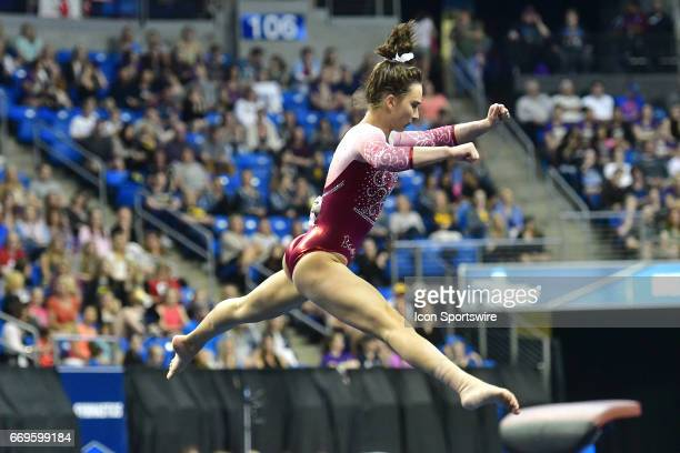 Alabama's Amanda Jetter performs her floor exercise routine during the finals of the NCAA Women's Gymnastics National Championship on April 15 at...