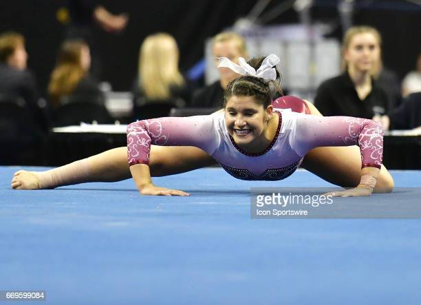 Alabama's Ari Guerra performs her floor exercise during the finals of the NCAA Women's Gymnastics National Championship on April 15 at Chaifetz Arena...
