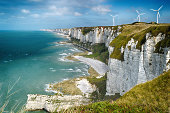 HDR view of the Alabaster cliffs near Fecamp, Normandy, France.