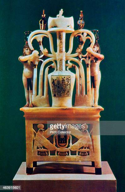 Alabaster perfume vase from the Tomb of Tutankhamun 14th century BC From the Treasure of Tutankhamun discovered in the pharaoh's tomb and today kept...
