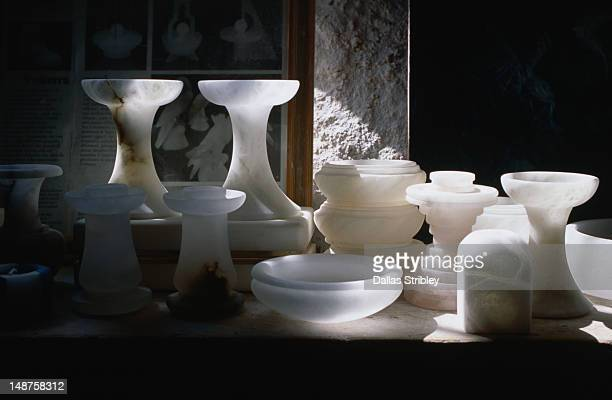 Alabaster products for sale in the Medieval town of Volterra.