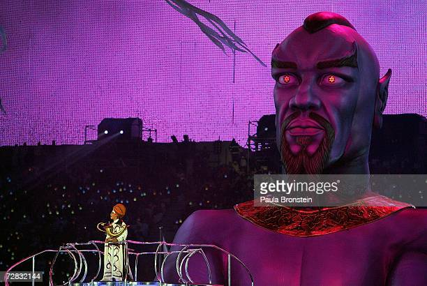 Aladdin and his lamp appear with the genie during the Closing Ceremony of the 15th Asian Games Doha 2006 at the Khalifa Stadium on December 15 2006...
