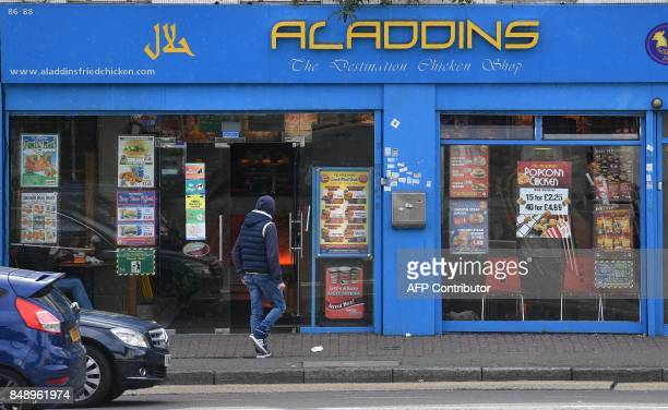 Aladdins Fried Chicken shop is pictured in Hounlsow west London on September 18 2017 Police officers on Saturday arrested a man who worked at the...