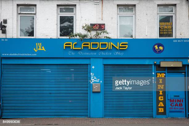 Aladdins fried chicken shop stands on Kingsley Road on September 20 2017 in Hounslow England Yahya Farroukh was arrested outside Aladdins by police...