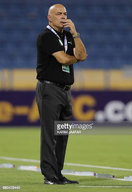AlAhli's coach Christian Gross gestures during an Asian Champions League football match between Iran's Zob Ahan club and Saudi Arabia's AlAhli club...