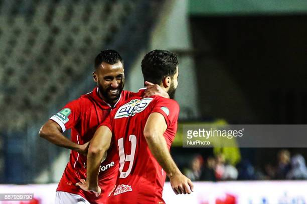 AlAhly players Hossam Ashour and Abduallah Said celebrate after scoring a goalduring the Egypt Primer League Fixtures 9 match between AlAhly and...