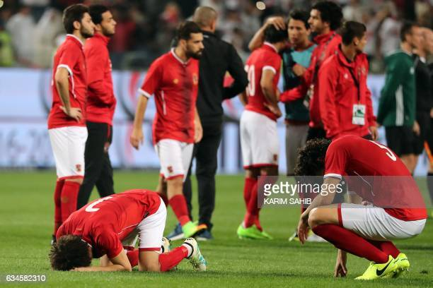 AlAhly players react after being defeated by Zamalek during the Egyptian Super Cup football match between AlAhly and Zamalek on February 10 at Sheikh...