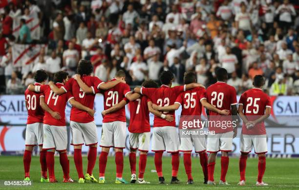 AlAhly players watch the penalty shooutout against Zamalek during the Egyptian Super Cup football match between AlAhly and Zamalek on February 10 at...