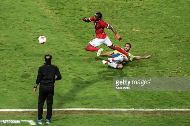 Alahly's Ajay Jnr Fight For the ball with AlIsmaily player Amr Bosha during the Egypt Premier League match between AlAhly and Ismaily at Borg AlArab...