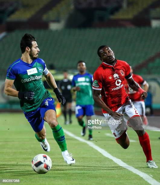 Alahly's Ajay Jr and AlMakksa Ahmed Samy in Action during the Egypt Primer League Fixtures 10 Match Between AlAhly and AlMakksa at Suez Stadium in...