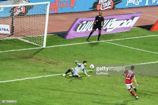 AlAhly's Amr Solia scores a goal during the Egypt Premier League match between AlAhly and Ismaily at Borg AlArab Staduim in Alexandria Egypt on 20...