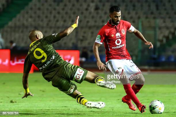 Alahly's Hossam Ashour and AlAssuite sport Said Morad in Action during the Egypt Primer League Fixtures 9 match between AlAhly and AlAssuite sport in...