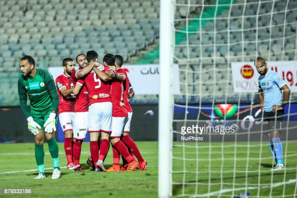 Alahly's players celebrate after scoring a goal during the Egypt Primer League Fixtures 6 Match Between AlAhly and AlDakhlia at Cairo Staduim in...