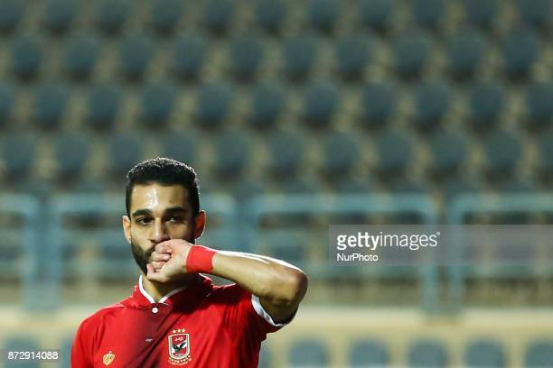 AlAhly's Walid Azaro celebrates a score during Egypt Cup 32th Round match between AlAhly and Beni Suef at Cairo Stadium in Cairo Egypt on 10 November...