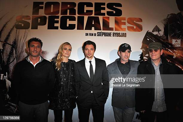 Alain Alivon Diane Kruger Raphael Personnaz Stephane Rybojad and Tcheky Karyo attend 'Forces Speciales' Paris Premiere at Cinema Gaumont Opera on...