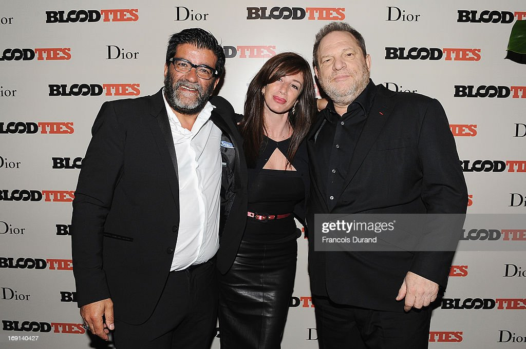 Alain Attal, Albane Cleret and <a gi-track='captionPersonalityLinkClicked' href=/galleries/search?phrase=Harvey+Weinstein&family=editorial&specificpeople=201749 ng-click='$event.stopPropagation()'>Harvey Weinstein</a> attend the 'Blood Ties' cocktail and party hosted by Dior at Club by Albane in Bulgari Rooftop on May 20, 2013 in Cannes, France.