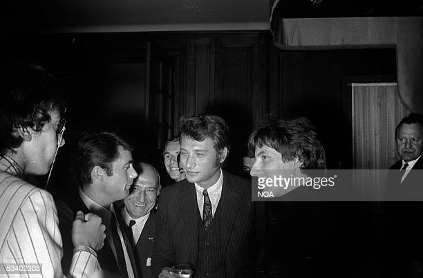 Alain Barriere Johnny Hallyday and Hugues Aufray French singers Paris HA177127