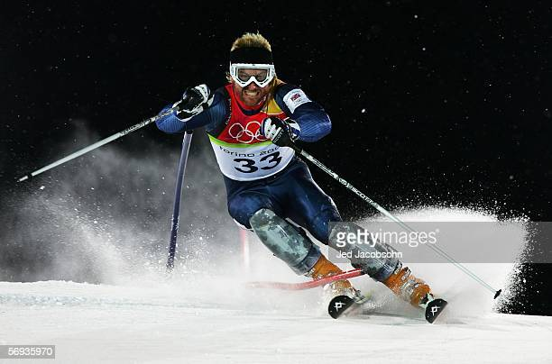 Alain Baxter of Great Britain competes in the Final of the Mens Alpine Skiing Slalom on Day 15 of the 2006 Turin Winter Olympic Games on February 25...