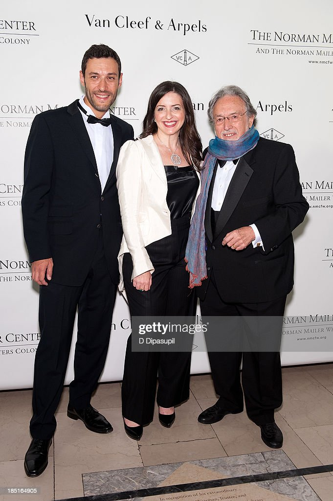 Alain Bernard, Nina Wiener Schiller, and <a gi-track='captionPersonalityLinkClicked' href=/galleries/search?phrase=Lawrence+Schiller&family=editorial&specificpeople=1515219 ng-click='$event.stopPropagation()'>Lawrence Schiller</a> attend the 2013 Norman Mailer Center gala at the New York Public Library on October 17, 2013 in New York City.