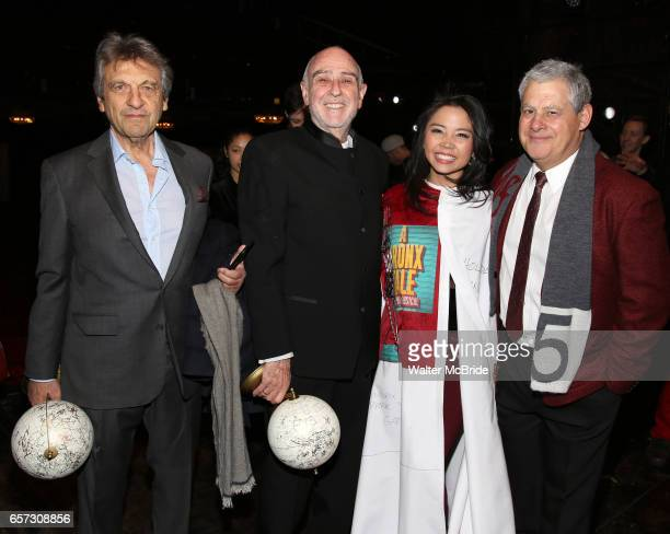 Alain Boubil ClaudeMichel Schonberg Catherine Ricafort and Cameron Mackintosh during The Opening Night Actors' Equity Gypsy Robe Ceremony honoring...