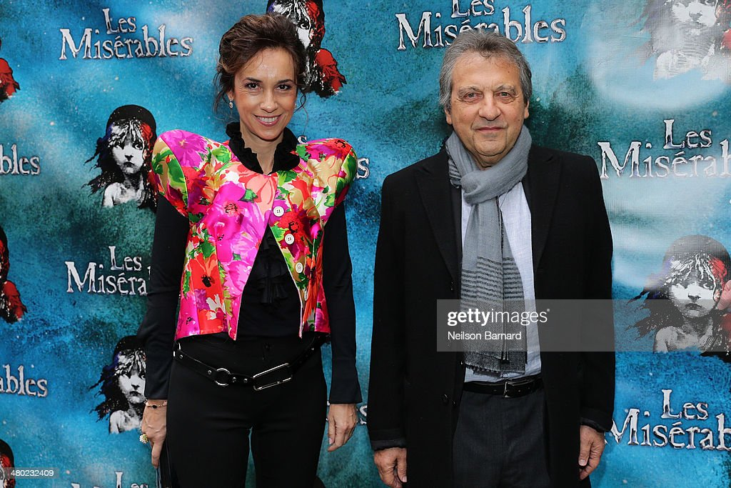 <a gi-track='captionPersonalityLinkClicked' href=/galleries/search?phrase=Alain+Boublil&family=editorial&specificpeople=2212267 ng-click='$event.stopPropagation()'>Alain Boublil</a> and Marie Zamora attend the opening night of Cameron Mackintosh's new production of Boublil and Schonberg's 'Les Miserables' on Broadway at The Imperial Theatre on March 23, 2014 in New York City.
