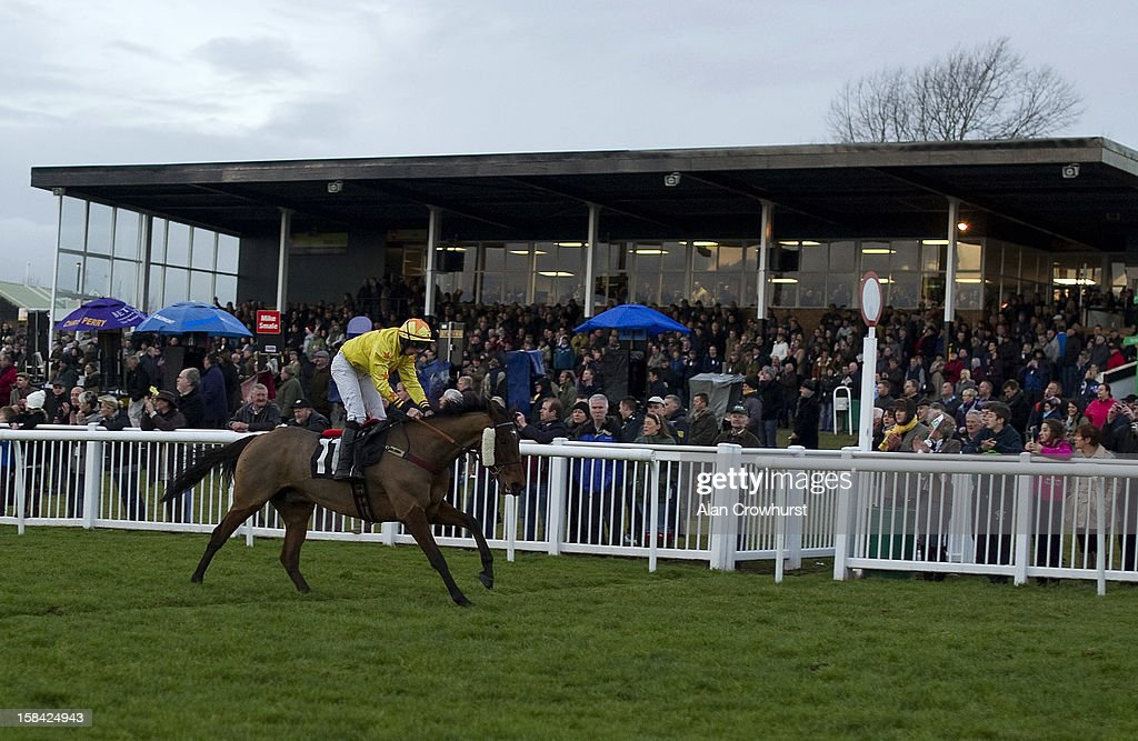 Alain Cawley riding Seymour Eric win The Thermolast Handicap Hurdle Race, the last race of the day during the last meeting to be held at Hereford racecourse after 241 years of racing on December 16, 2012 in Hereford, England.
