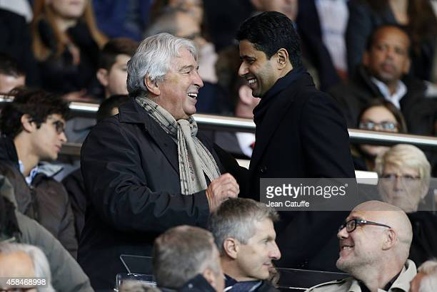 Alain Cayzac and President of PSG Nasser AlKhelaifi attend the UEFA Champions League Group F match between Paris SaintGermain FC and APOEL Nicosie at...