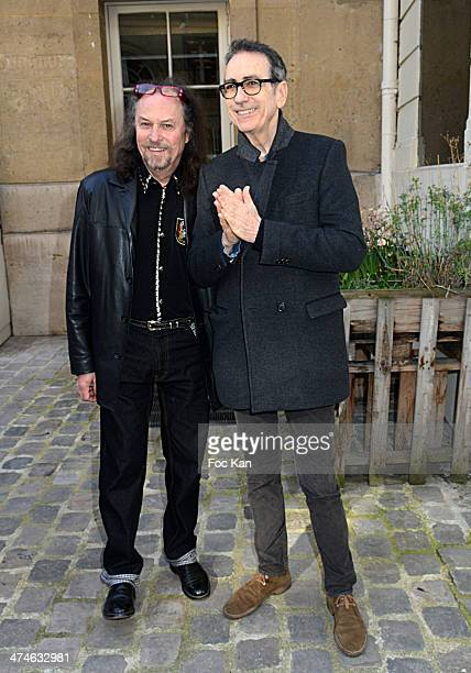 Alain Chamfort and a guest attend the Unveiling of The Plaque 'Golf Drouot' at the Mairie du 9 eme on February 24 2014 in Paris France