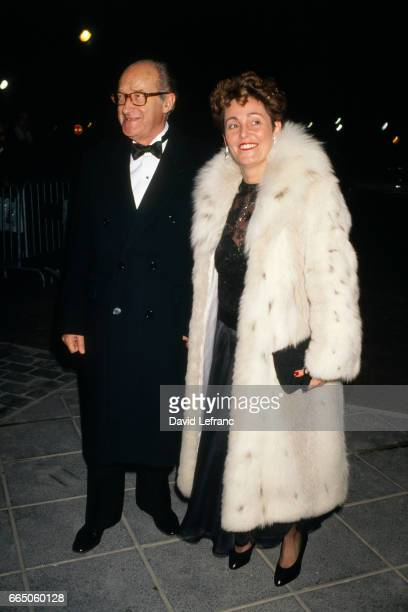 Alain Decaux and Micheline Pelletier arrive at the premiere of the film Cyrano de Bergerac directed by JeanPaul Rappeneau
