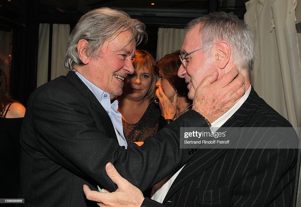 <a gi-track='captionPersonalityLinkClicked' href=/galleries/search?phrase=Alain+Delon&family=editorial&specificpeople=228460 ng-click='$event.stopPropagation()'>Alain Delon</a> (L) and Bernard Lecoq attend 'La Petite Maison De Nicole' Inauguration Cocktail at Hotel Fouquet's Barriere on January 22, 2013 in Paris, France.